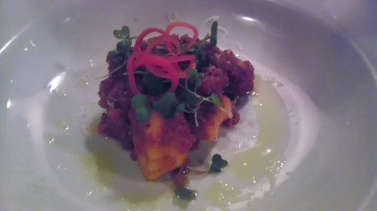 Goat cheese gnocchi w/lamb ragu. And it's pretty, too!
