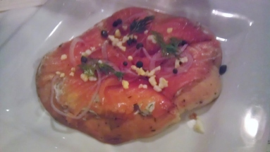New salmon flatbread appetizer. I don't mind being a test market in this instance.